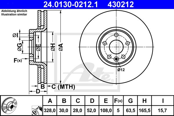 Преден диск ATE 24.0130-0212.1 328мм Volvo XC60 D5 дизел